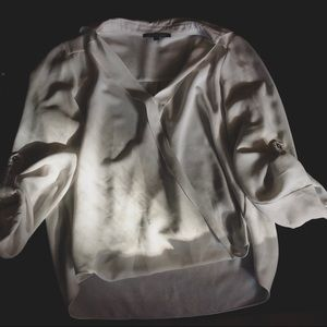 Silky White Gianni Bini Wrap Top